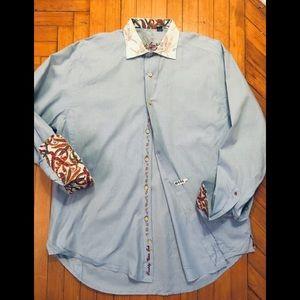 Robert Graham XL lt blue long sleeve button shirt